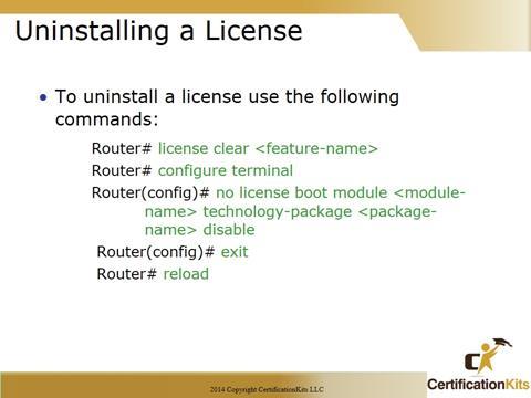 Cisco CCNA Licensing Uninstall