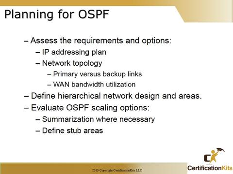 Cisco CCNA OSPF Planning