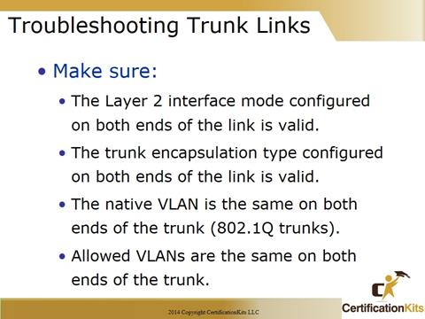 Cisco CCNA Troubleshooting Trunk Lines