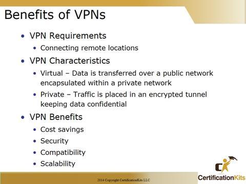 Cisco CCNA Benefits of VPNs